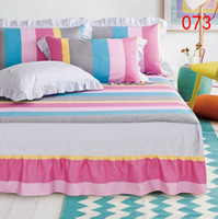 bedding dust ruffles - Pink Gray Blue Cotton Single Double Bed Skirt Mattress Cover Petticoat Full Queen Bed Skirts Bedspread Dust Ruffle x200cm