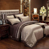 bedclothes satin cotton - Luxury Embroidery Satin Silk Jacquard Bedding Set Home Textile bedclothes bed linen sheet set Full Queen King Size