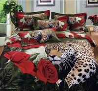 Cheap Wholesale-cotton luxury queen king size 3d bed set bedding set bedclothes Animal Lion tiger leopard duvet cover bedspread bedding-set
