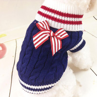 apparel knitted sweater best - Cute Pet Dog Warm Knit Sweater Stripe Bow Pullover Puppy Coat Apparel Best Price GF8