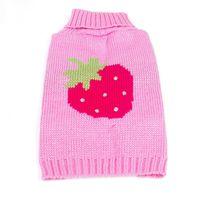 Wholesale Dog Sweater Pink Strawberry XS S M L Vest Coat Puppy Pet Clothes Jacket Jumper