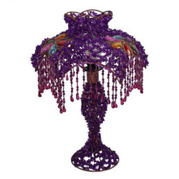 Wholesale European Style Handmade Lampshades Stained Glass Lampshades Beaded Decoration Tiffany Table Lamp Foyer Handmade Lampshades