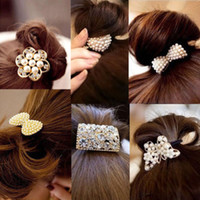 Wholesale X Women Crystal Rhinestone Pearl Hair Band Rope Elastic Ponytail Holder Bowknot