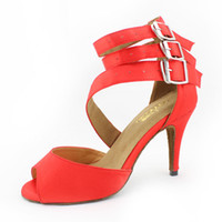 Wholesale The new Red Satin soft outsole High heeled Latin dance shoes women s Ballroom dancing shoes Salsa Samba