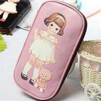 Wholesale New Girl Women Children Little Doll Pen Pencil Case Bag Stationery Cosmetic Multifunctional Case Pu Bags CC2214