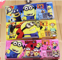 plastic pencil box - Multifunctional pencil case for boys children plastic pencil box double faced Minions pencil cases with small pencil sharpener
