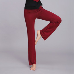 Wholesale-Free shipping Women Ladies Solid Yoga Sport Flare Modal Elastic Waist Dance Club Comfortable Fitness Loose Long Trousers RED
