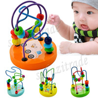 baby coasters - Retro Classic Baby Toy Comfortable Polished Smooth Beads Move Round Line Wooden Activity Cube Roller Coaster Bead OAA00052