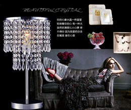 Wholesale Modern brief k9 crystal curtain luxury table lamp ofhead quality romantic decoration lamp