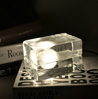 bent glass tables - American personality fashion bedside counter table lamp creative special ice cube lighting fixture