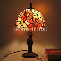 Wholesale-Modern tiffany lamps Sunflower Table lamp Living room bedroom night light Veranda lamps Foyer Bar Home decor for Birthday gift