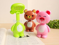 bear knobs - Pink Pig brown Bear Green Frog LED Table Lamp Cartoon Bedroom Study Night Light LED Reading Lamp For Children