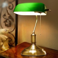 antique green table lamp - American Antique Green Bank Lamp Living Room Retro Table Lamp Study Vintage Table Lamp Old Fashion Green Table Lamp