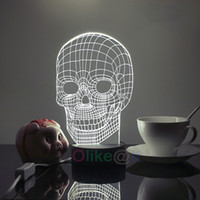 Cheap Wholesale-Free Shipping Skull 3D Lamp Acrylic Table Light Bedside Luminaria de mesa Table Lamps For Bedroom Abajur Lampshade Special Gift