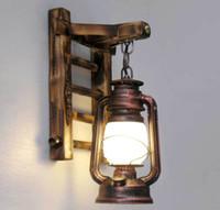 barn light - AC100 V Chinese Style Novelty Bamboo Ladder Wall lamps Creative barn lantern Bronze Wall lightings E27 Sconce decor lighting