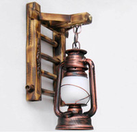 bamboo wall decor - AC100 V Chinese Style Novelty Bamboo Ladder Wall lamps Creative barn lantern Bronze Wall lightings E27 Sconce decor lighting