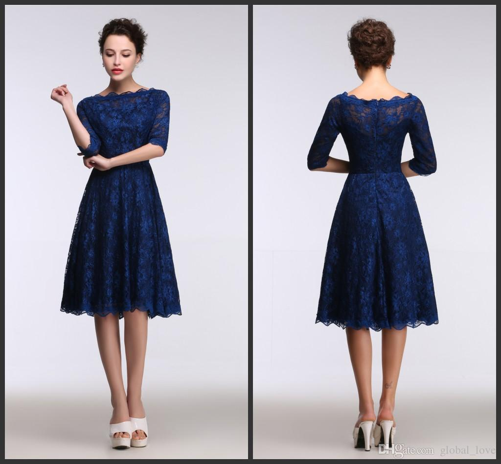 Lace Royal Blue Evening Dresses Knee Length Real Model Show 1/2 ...