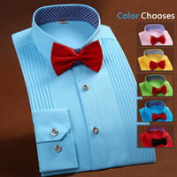 Cheap Wholesale-2015 Men Denim High Quality Mens Wedding Shirt French Men Casual Dress Shirts Cotton Long Sleeve Silk Shirts With A Bow Tie