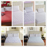 Wholesale bed protection pad quilted mattress protector hotel mattress cover cotton twin queen king size bright colored diamond quilting