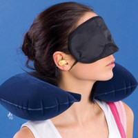 air soft masks - HOT in Travel Set Soft Inflatable Neck Air Cushion Pillow eye mask Ear Plug Comfortable business trip