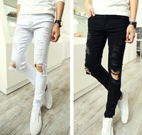 Cheap Men Punk Ripped Skinny Jeans | Free Shipping Men Punk Ripped