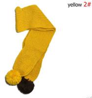 Venta al por mayor venta al por menor de chicas pañuelo amarillo color acrílico bufandas 125cm sólo incluyen la bufanda