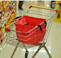 Cheap Environmental Friendly SMILE MARKET shopping trolley bag Large capacity Foldable Trolley Supermarket Green Shopping Bag