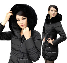 Wholesale Brand Winter Down Jackets For Women With Large Natural Rabbit Fur Collar Fashion Long Thicken Parka coats Blazer