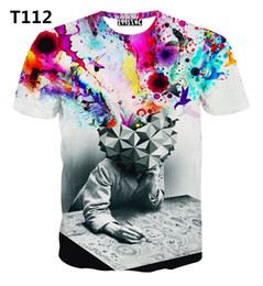 Wholesale-[Amy] Top Hot men's 3d t shirt Tie-dye Meditation Man print 3D tshirt high quality short sleeve tshirts T222 free shipping