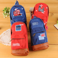 amp book - Hot sell cute London large capacity pen type floral students Canvas bags for boy girl kids book fabric Pencil jeans school amp