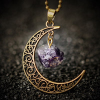 antique amethyst pendant - Vintage Galaxy Moonstone Irregular Amethyst Opal Rose Quartz Crystals Natural Stone Pendants Antique Bronze Chain Necklace
