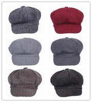 Wholesale-2015 nuevo de la manera unisex de color Seleccione estilo ocasional boinas Octagon las gorras de algodón para los hombres y las mujeres Shipping EPK