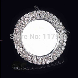 Wholesale-30pcs Cameo Rhinestone Caps,Metal Rhinestone Button Caps Inner 25mm Round Silver Setting Blank Tray,2 Row's Of Clear