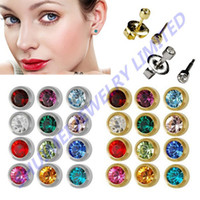 Wholesale Piercing China pairs Fashion Silver Or Gold Studex Ear Studs for Piercing Gun Earrings Tool Kit Body Jewelry Free Shippin