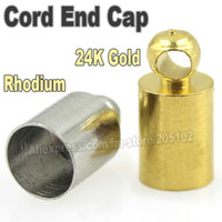 crimp cord end - Cord End Caps Crimp Tips Silver Gold for Necklace Bracelet Ropes Cords Connectors Clasp DIY Jewelry Findings Parts Accessories