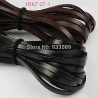 Wholesale Black Color Flat Real Genuine Leather Cord mm M length