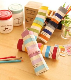 Wholesale-3051A Korea simplicity creative canvas color stripes spell color rolls of pencil bags student pencil case