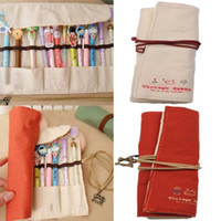 pencil holder - Pencil Case Stationery Bag Holder Wrap Pouch Cosmetic Canvas Student Storage Clutch BOY GIRL