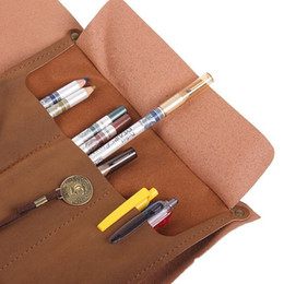 Wholesale-Large capacity retro leather pirate Kazamaki Pencil