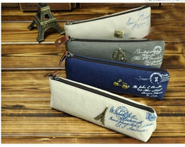 Wholesale-Creative Korea vintage classic retro stylish canvas pencil bag Paris landscape ship stationery pencil bag