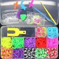 Cheap Wholesale Todopoderoso! 1200pcs12 colores Colorido Goma Loom Bandas Kit CAJA! Charm Pulseras de fábrica libre del envío DIY