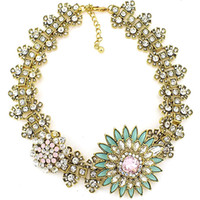 Cheap Wholesale-Z High Quality Women Luxury Costume Fashion Chunky Necklaces & Pendants Chokers Crystal Flower Gorgeous Statement jewelry