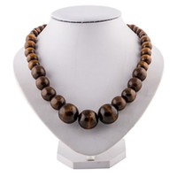 Wholesale Men Jewelry Wood Beaded Necklace Round Wooden Bead Chunky Necklaces Vintage Fashion Wood Jewelry For Womem