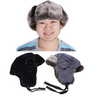 Wholesale Winter Outdoor Windproof Cotton Bomber Hats Thick Cap Men Women Snow Ski Hunting Hat Faux fur Lined Ear Flaps Black Grey