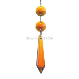 wholesale amber crystal prisms chandelier parts lighting accessories party home decoration 10pcs lot 55mm pointed pendants amber pendant lighting on sale amber pendant lighting