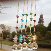 Wholesale Garland Chakra Spectra Suncatcher Glass Crystal Pendulum Lamp Prisms Parts Feng Shui Pendants mm M02280