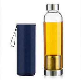Wholesale new sport outdoor Portable Real Borosilicate Glass Water Tea Bottle ml Travel Mug Carafe Nylon Sleeve with Tea Infuser