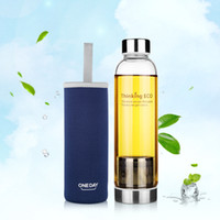 CE / EU,CIQ bicycle water filter - ML Drinkware Portable Glass Tea Infuser Cup Water Bottle With Strainer sport Fruit Bottle Stainless Steel Filter Cup Sleeve