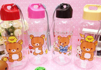al por mayor plastic bottle for drinking water-Al por mayor-Kawaii transparente Botella Beber Rilakkuma oso PP de plástico botella de agua Copa de deportes acuáticos; Botella Saludable Niños Conveniente