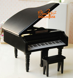Wholesale Dollhouse Miniature Classical Grant black Piano with Stool
